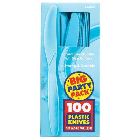 Caribbean Blue Big Party Pack Midweight Plastic Knives