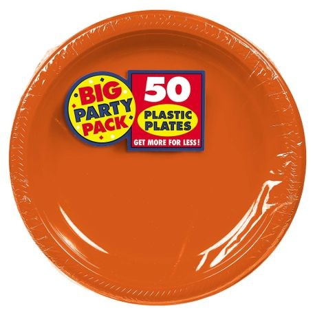 "10.25"" Orange Big Party Pack Round Plastic Plate"