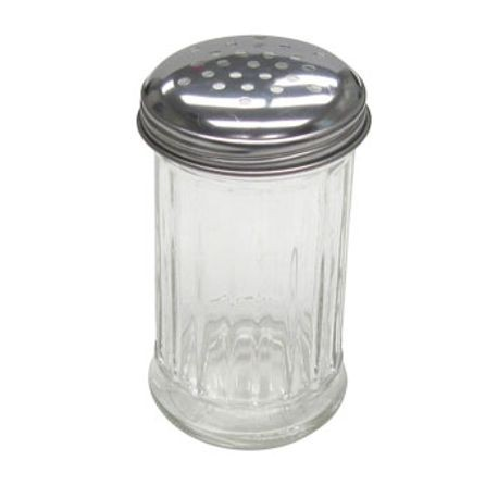 12 oz Glass Shaker Pourer Jar With Stainless Steel Perforated Tops with Fluted Design