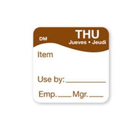 "1"" x 1"" DM 500 Thursday ""Use By"" Labels (1100734)"