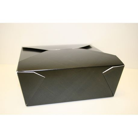 "#6 Black 8.5"" x 8.5"" x 3"" Folded Take Out Box (MPK6B)"