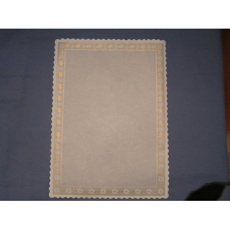 "10 3/4"" x 14 3/4"" Rectangular Glassine Doily With Scalloped Edge And Gold Trim"