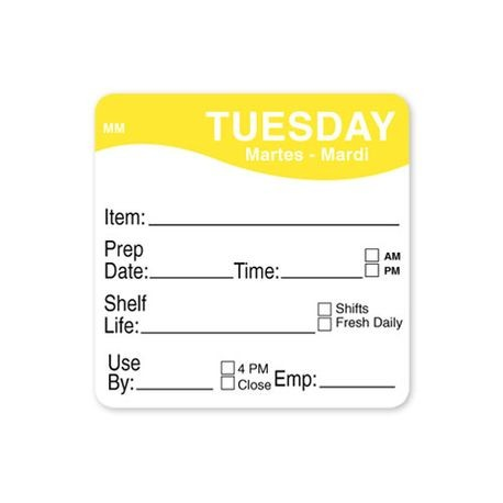 "MoveMark™ 2"" x 2""  Tuesday Labels (1122122)"