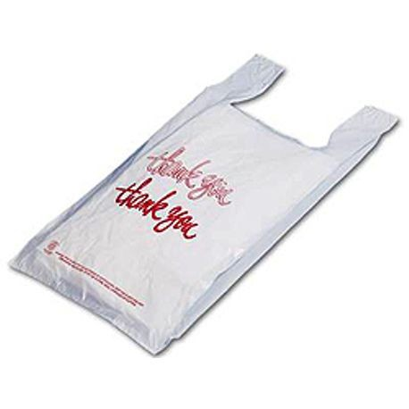 """Thank You"" 17"" x 9"" x 30"" Low-D White T-Shirt Bags (LD30TKY)"