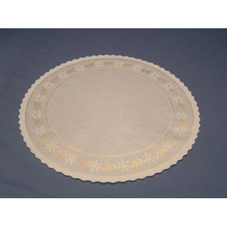 "8 1/8"" Round Glassine Doily With Scalloped Edge And Gold Trim"