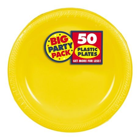"7"" Yellow Big Party Pack Round Plastic Plate"