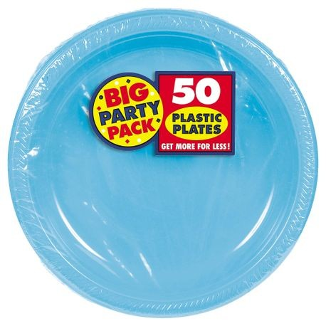 "10.25"" Caribbean Blue Big Party Pack Round Plastic Plate"
