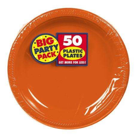 "7"" Orange Big Party Pack Round Plastic Plate"