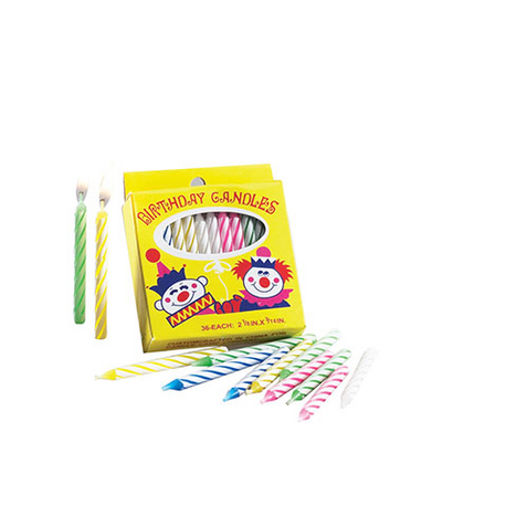 "2 1/4"" Assorted Spiral Striped Birthday Candles"