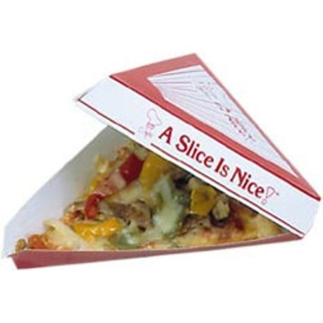 "A Slice is Nice 9.375"" x 9"" x 1.625"" Paper Board Pizza Slice Boxes (PB186-2CP)"