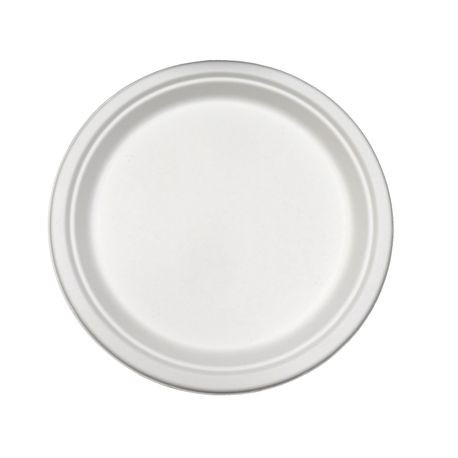 "AmerCareRoyal® PrimeWare® White 10"" Bagasse Heavy Round Plate (PL-10)"
