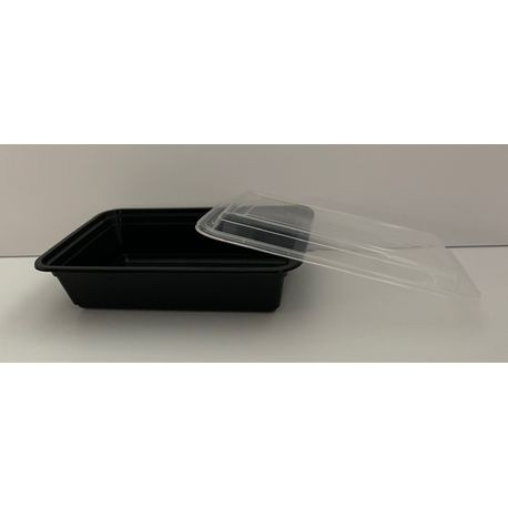 Black 38 oz Rectangle Container Combo Case Pack (HDRE38)
