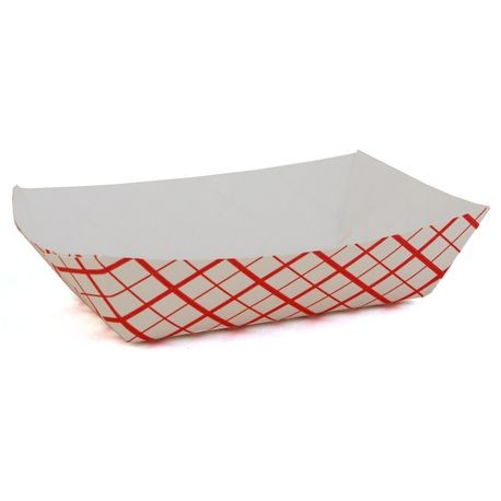 #25 Southland™ Red Check 1/4 lb Paper Food Trays (0401)