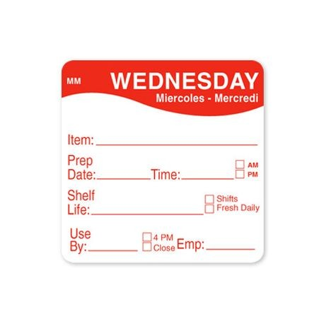 "2"" x 2""  MM 500 Wednesday Labels (1122123)"
