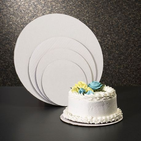 "14"" White Corrugated Cardboard Cake Circle"