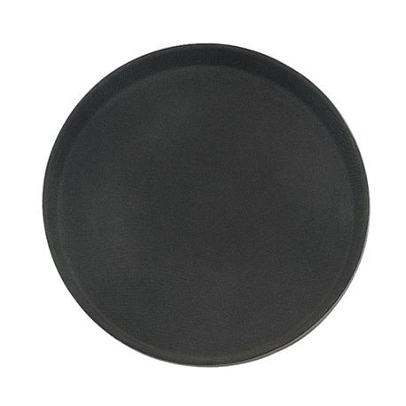 "Black 14"" Non-Slip Grip Round Poly Serving Tray"
