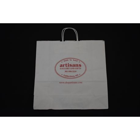 "Artisan Gallery 16"" x 6"" x 16"" White Shopping Bag"