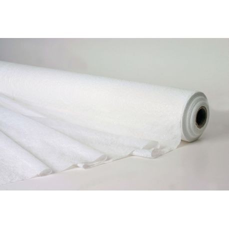 "40"" x 300' White Plastic Pebbled Embossed Table Cover Roll"