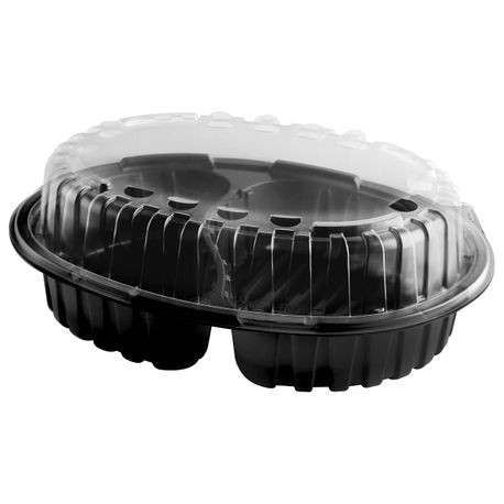 "Anchor Packaging® Crisp Food Technologies® 10.7"" x 8.4"" x 3.6"" 2 piece 2 section Container (4111945)"