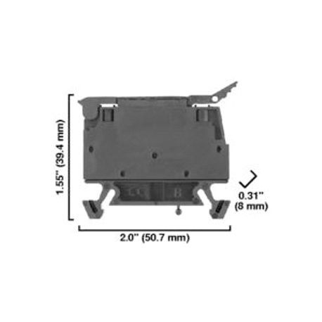 1492-W IEC Terminal Block, One-Circuit Fuse Block (5 x 20 mm Fuses, Type W), 4 mm (# 22 AWG - # 10 AWG) or 2.5 mm (# 22 AWG - # 12 AWG), Neon indicator, Black (Standard),