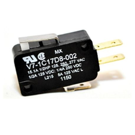 Honeywell MICRO SWITCH™ V7-1C17D8-002 Double Throw Micro Miniature Basic Switch, 277 VAC, 15 A, Straight Lever Actuator, SPDT Contact Configuration, 1 Pole