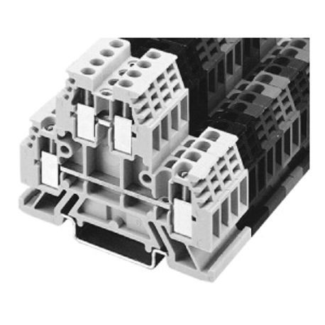 1492-W IEC Terminal Block, Two-Circuit Feed-Through Block, 4 mm (# 22 AWG - # 10 AWG) or 2.5 mm (# 22 AWG - # 12 AWG), Standard Feedthrough, Gray (Standard),