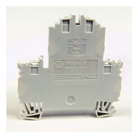 1492-J IEC Terminal Block, Two-Circuit Feed-Through Block, 4 mm (# 26 AWG - # 10 AWG), Standard Feedthrough, Gray (Standard),