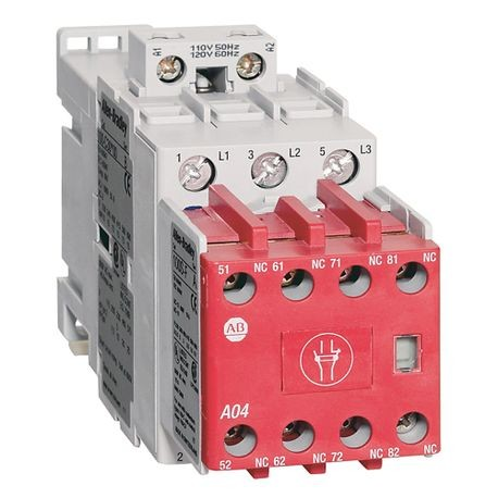 100S-C Safety Contactor, 30A, Line Side, 110V 50Hz / 120V 60Hz, 3 N.O., 1 N.O. 4 N.C., Bifuracated Contact
