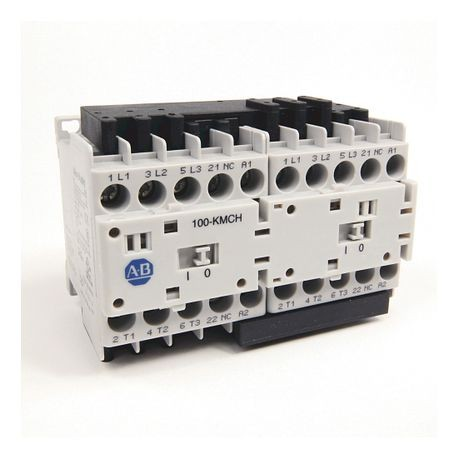 104-K Mini Reversing Contactors, Screw Type Terminals, 5 A, System Control Voltage: 24V 50/60Hz, 3 N.O. Main Contacts, 1 N.C. Auxiliary Contact