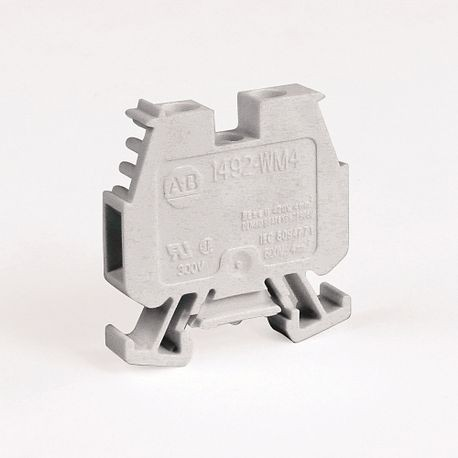 1492-W IEC Terminal Block, One-Circuit Mini Feed-Through Block, 4 mm (# 22 AWG - # 10 AWG) or 2.5 mm (# 22 AWG - # 12 AWG), Standard Feedthrough, White,