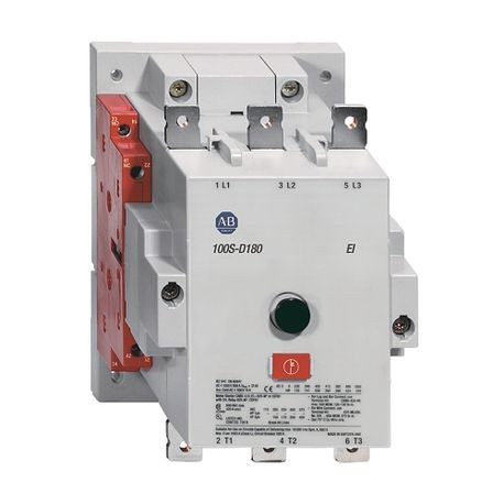 100S-D Safety Contactor, IEC, 180 A,110-130V 50/60Hz / 110-130V DC Electronic Coil w/ Elec. Interface, 2 N.O. 2 N.C. Gold Plated Bifurcated Contacts Optimized for Low Energy Switching