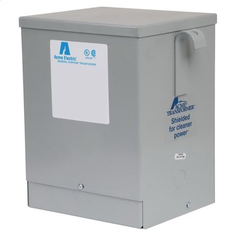 Acme Electric® T279743S Dry Type Encapsulated Low Voltage Distribution Transformer, 120/208/240/277 VAC Primary, 120/240 VAC Secondary, 3 kVA Power Rating, 60 Hz, 1 Phase