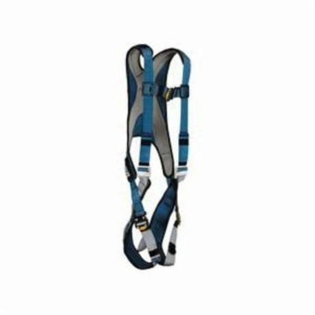 3M DBI-SALA Fall Protection ExoFit™ 1107977 Multi-Purpose Harness, L, 420 lb Load, Polyester Strap, Quick-Connect Leg Strap Buckle, Quick-Connect Chest Strap Buckle, Steel Leg Buckle/Steel/Steel Torso Buckle Hardware, Blue/Gray