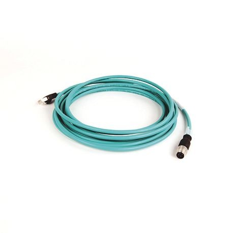1585 Ethernet Cables, 4 Conductors, M12, Straight Male, Standard, RJ45, Straight Male, Teal PUR, Shielded, 100BASE-TX, 100 Mbit/s, High Flex, PUR, Halogen Free, 10 million cycles