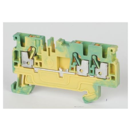 Allen-Bradley 1492-PG3T 1-Level 1-Circuit Grounding Terminal Block, 800 VAC/VDC, 2.5 sq-mm Wire, Push-In Mounting