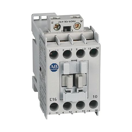 100-C IEC Contactor, 24V DC Electronic Coil, Screw Terminals, Line Side, 16A, 1 N.O. 0 N.C. Auxiliary Contact Configuration, Single Pack