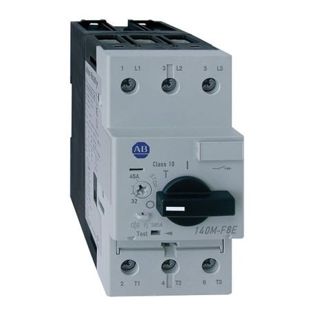 Allen-Bradley 140M-F8E-C32-CX High Break Standard Motor Protection Circuit Breaker With Right Side Placeholder Auxiliary Trip Contact, 480/600 VAC, 32 A, 65/30 kA Interrupt, Adjustable Thermal/Fixed Magnetic Trip