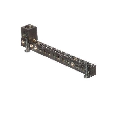 Siemens ECGB101 Ground Bar Kit, 14 to 4 AWG, 14 to 1/0 AWG Aluminum/Copper Conductor, 10 Terminals, For Use With: Legacy Loadcenter