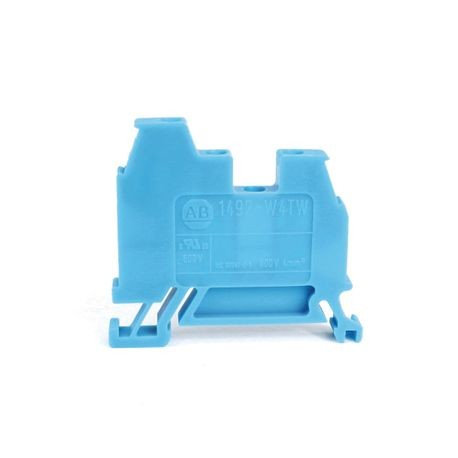 1492-W IEC Terminal Block, One-Circuit Feed-Through Block, 4 mm (# 22 AWG - # 10 AWG) or 2.5 mm (# 22 AWG - # 12 AWG), 3 Connection points, 2 on one side, Blue,