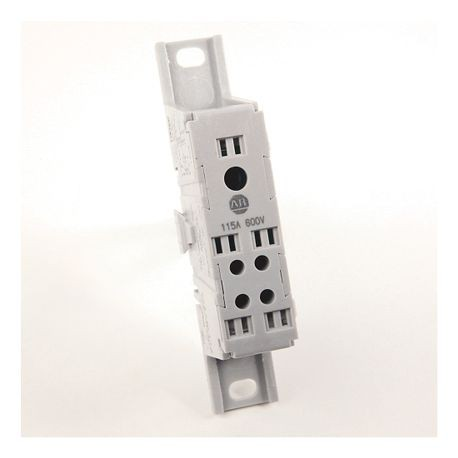 1492 Enclosed Power Distribution Block, 1-Pole, Aluminum, 1 Opening Line Side, 4 Openings Load Side, 115 Amps