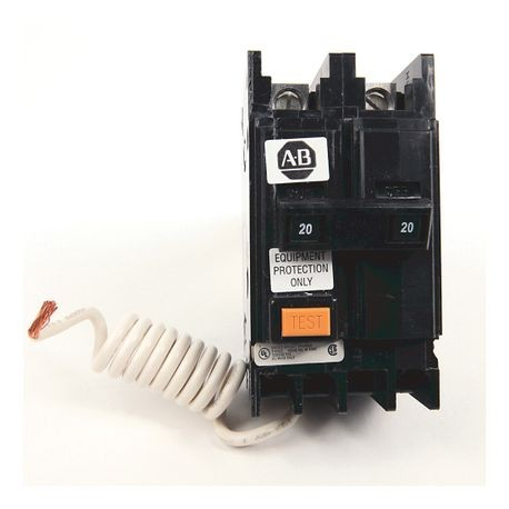 1492-MC Circuit Breaker, 1492 Miniature Circuit Breaker, Ground Fault Equipment Protector (GFEP), Panel mounting, 10 kA, 2 Poles, 20 Amps, Standard Terminal, None