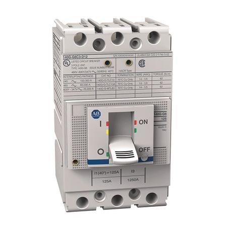 140G - Molded Case Circuit Breaker, G frame, 65 kA, T/M - Thermal Magnetic, Rated Current 125 A