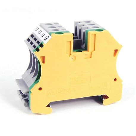 1492-J IEC Terminal Block, One-Circuit Feed-Through Block, 4 mm (# 22 AWG - # 10 AWG) or 2.5 mm (# 22 AWG - # 12 AWG), Motor connection terminal block cluster with 3 feeds and ground, Gray / Green / Yellow,