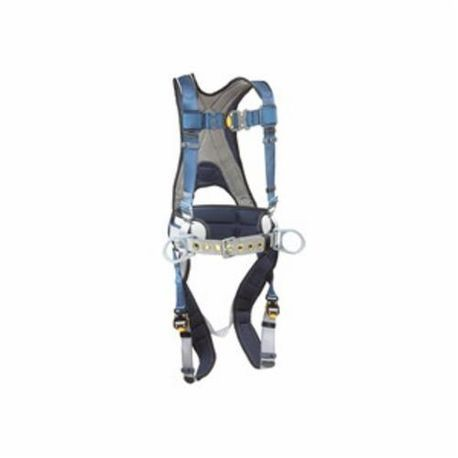 3M DBI-SALA Fall Protection ExoFit™ 1108500 Multi-Purpose Construction Harness, S, 420 lb Load, Polyester Strap, Quick-Connect Leg Strap Buckle, Quick-Connect Chest Strap Buckle, Steel Leg Buckle/Steel/Steel Torso Buckle Hardware, Blue/Gray