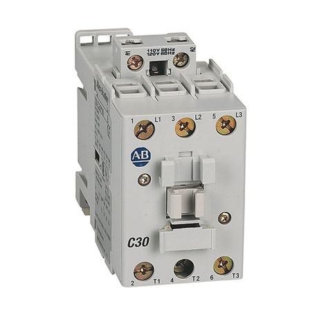 Rockwell Automation 100-C30T10 IEC Contactor, 240/277 VAC Coil, 30 A Maximum Load Current, 1NO-0NC Contact Configuration, 3 Pole
