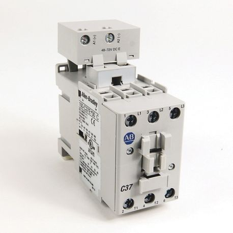 100-C IEC Contactor, 24V DC Electronic Coil, Screw Terminals, Line Side, 37A, 1 N.O. 0 N.C. Auxiliary Contact Configuration, Single Pack