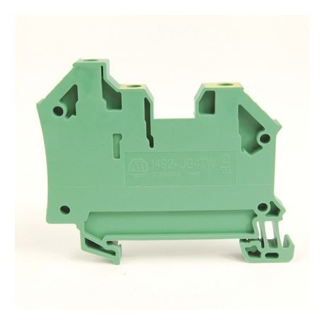 1492-J IEC Terminal Block, One-Circuit Feed-Through Ground Block, 4 mm (# 30 AWG - # 10 AWG), 3 Connection points, 2 on one side, Green / Yellow Stripe (Standard),