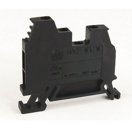 1492-W IEC Terminal Block, One-Circuit Feed-Through Block, 4 mm (# 22 AWG - # 10 AWG) or 2.5 mm (# 22 AWG - # 12 AWG), 3 Connection points, 2 on one side, Black,