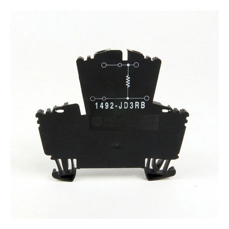 1492-J IEC Terminal Block, Two-Circuit Feed-Through Block, 2.5 mm (# 24 AWG - # 12 AWG), Two level block with a selectable resistor value between the 2 levels, Gray (Standard), 2200 Ohm Resistance