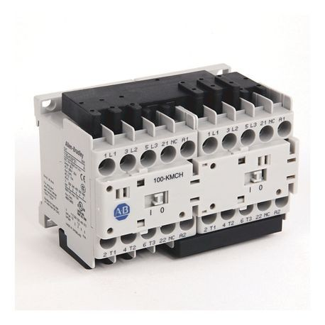 104-K Mini Reversing Contactors, Screw Type Terminals, 9 A, System Control Voltage: 24 (17...30)V DC, 3 N.O. Main Contacts, 1 N.C. Auxiliary Contact